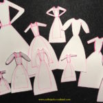 Hand drawn paper dress templates
