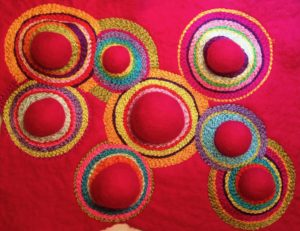 Circles stitched on felt. Cathy Jack Coupland