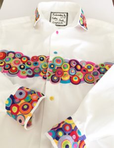 Machine embroidered shirt. Cathy Jack Coupland
